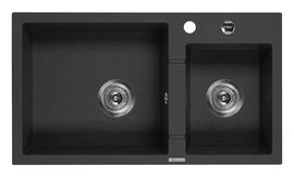 PIVA Chiuveta Granit SINK TWO BOWLS WITH DRAINING BOARD, WITH FITTING, GRAPHITE GRANITE
