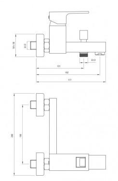 Anemon Baterie de cada cu montaj in perete si functie de dus