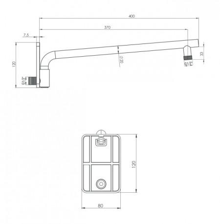 Brat pentru dispersorul fix, finisaj alb, lungime 400mm, forma rotunda