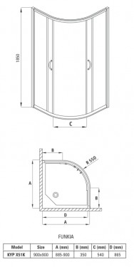 Cabina semirotunda de 90*90 cu 2 usi culisante