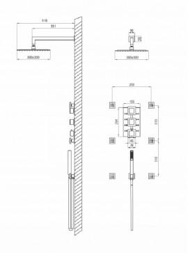 Obisan multi-system set de dus cu baterie, duze, para de dus, dispersor fix forma patrata