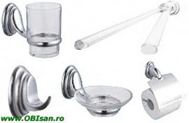 Set accesorii 5-piese crom, include: port pahar, cuier, port prosop, sapuniera ,port hartie