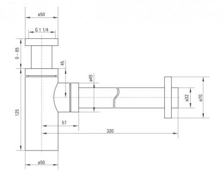 Sifon design pentru lavoar finisaj - alb