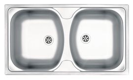TECHNO 2-BOWL S/S SINK WITHOUT DRAINING BOARD, WITH FITTINGS, DECOR