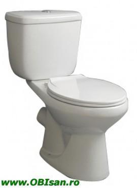 Vas WC monobloc incl. capac,rezervor si armatura dublaactionare, scurgere laterala 41x74x71 cm