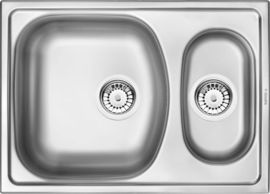"""XYLO STAINLESS STEEL SINK 1 AND1/2 BOWL WITH FITTINGS  620x440x150, 3,5"""""""
