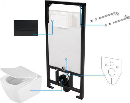 Anemon zero Set 6 in 1 vas WC, capac, cadru, clapeta finisaj negru, sistem prindere si membrana acustica