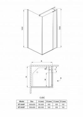 Cabina de dus patrata 90*90cm kti043p Cubic