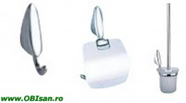 Set accesorii 3-piese crom, include: cuier, port hartie, perie WC