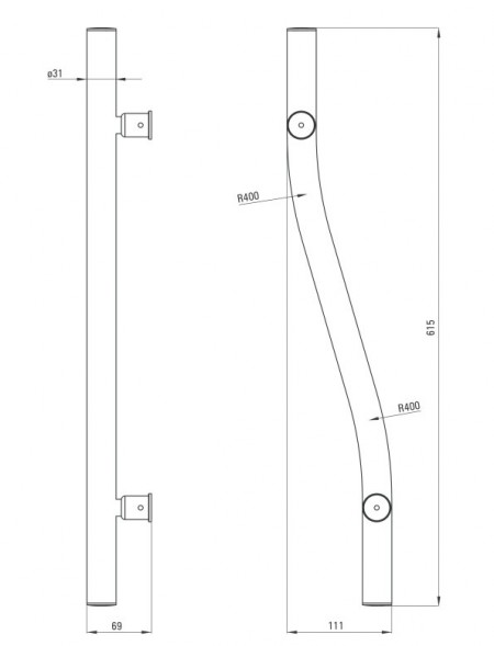 Vital Maner lungime 61,5 cm finisaj crom