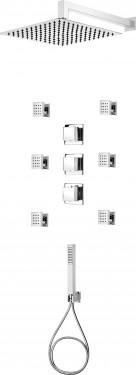 Multi-System set de dus cu baterie, duze, para de dus, dispersor fix forma patrata
