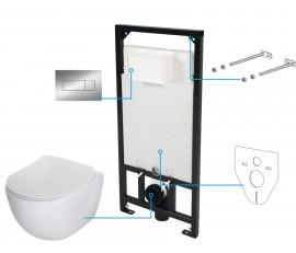 Peonia Set 6 in 1 vas WC, capac, cadru, clapeta, sistem prindere si membrana acustica