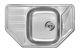 SWING 1-BOWL S/S TRAPEZOID SINK WITH DRAINING BOARD, WITH FITTINGS, SATIN