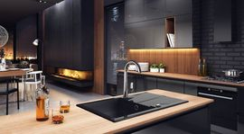 ANDANTE GRAPHITE GRANITE SINK ONE BOWL WITH DRAINER WITH FITTING