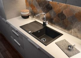 "EVORA Chiuveta Granit GRANITE SINK GREY METALIC 780x440x180, 3,5"""