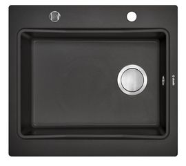 MODERN 1-BOWL SINK WITHOUT DRAINING BOARD, WITH FITTINGS, METALLIC BLACK GRANITE