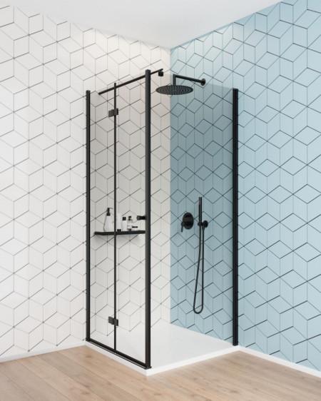 Paravan de duș walk-in, finisaj negru din seria Kerria 80 cm KTS N38P