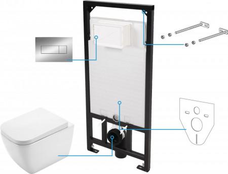 Hiacynt zero Set 6 in 1 vas WC, capac, cadru, clapeta finisaj gri, sistem prindere si membrana acustica