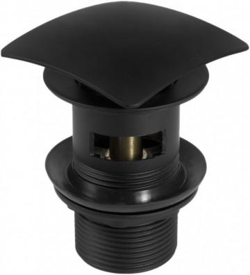 Sifon Click-Clack negru cu transfer forma patrata