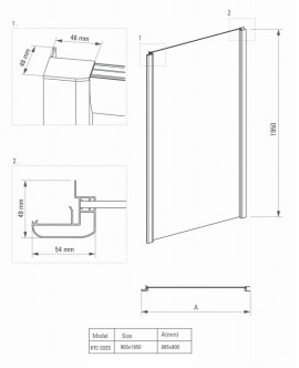 Cabina asimetrica 90 x 140
