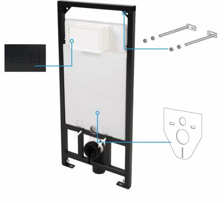 Deante rezervor incastrat, functie Dual Flush (3/6l) cu picioare + clapeta finisaj negru