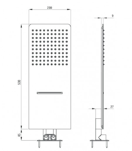 Dispersor fix - cascada cu 2 funcții montare pe perete