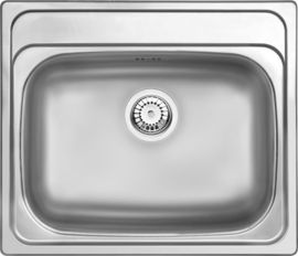 MAREDO ONE BOWLSTAINLESS  STEEL SINK WITH FITTINGS 600x500x180, 3,5""