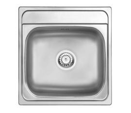 MERCATO 1-BOWL S/S SINK WITHOUT DRAINING BOARD, WITH FITTINGS, SATIN