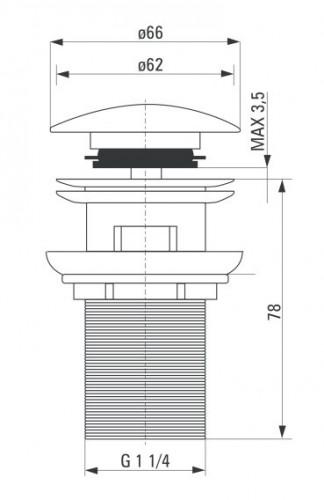 Sifon Click-Clack negru cu transfer forma rotunda