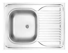 TANGO 1-BOWL LAY-ON S/S SINK WITH DRAINING BOARD, 800X600, WITH FITTINGS, SATIN