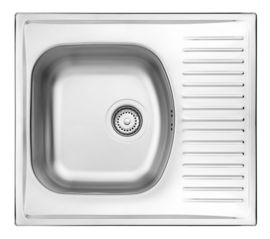 TECHNO 1-BOWL S/S SINK WITH SHORT DRAINING BOARD, WITH FITTINGS, SATIN