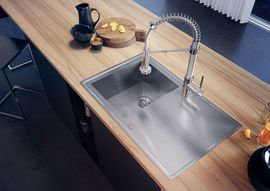 SINOPE SATIN SINK ONE BOWLS RIGHT DRAINER WITH FITTING