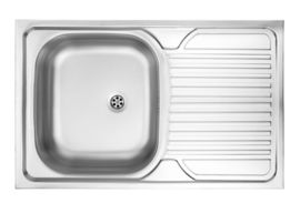 TANGO 1-BOWL LAY-ON S/S SINK WITH DRAINING BOARD, LEFT, WITH FITTINGS, SATIN