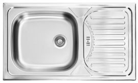 TWIST 1-BOWL S/S SINK WITH DRAINING BOARD, WITH FITTINGS, DECOR