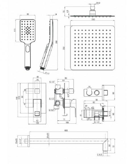 Anemon 2020 new crom Set de dus incastrat cu baterie , para de dus, si dispersor fix