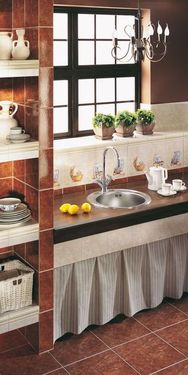 CORNETTO 1-BOWL S/S SINK, ROUND, WITH COLLAR, WITH FITTINGS, DECOR