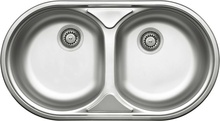 DUET 2-BOWL S/S SINK WITHOUT DRAINING BOARD, WITH FITTINGS, SATIN