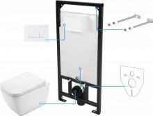 Hiacynt zero Set 6 in 1 vas WC, capac, cadru, clapeta finisaj alb, sistem prindere si membrana acustica