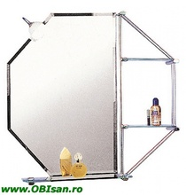 Oglinda cu iluminare normala sau iluminare cu halogen si 3 etajere 80x80 cm