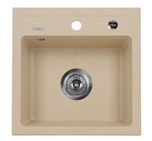 ZORBA SINK ONE BOWL WITHOUT DRAINER WITH FITTING, SANDY GRANITE