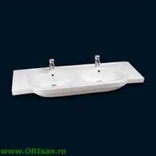 Lavoar ceramic dublu pentru mobilier                             alb 130x46,5x17,5