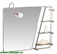 Oglinda cu iluminare normala sau iluminare cu halogen si 3 etajere 90x75 cm