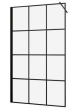 Paravan de dus finisaj negru tip Walk-in Elite Black Soho - 120cm - sticla 6mm