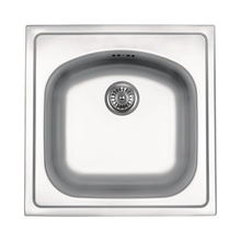 SALSA 1-BOWL S/S SINK WITHOUT DRAINING BOARD, WITH FITTINGS, SATIN