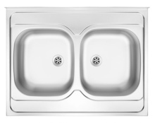TANGO 2-BOWL LAY-ON S/S SINK WITHOUT DRAINING BOARD, IRREVERSIBLE, WITH FITTINGS, SATIN