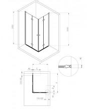 Cabina cu uși pliabile, finisaj negru din seria Kerria