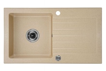 ZORBA 1-BOWL SINK WITH DRAINING BOARD, WITH FITTINGS, SANDY GRANITE