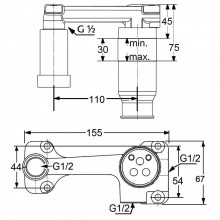 Baterie lavoar completa Kludi seria Bozz negru mat 23 cm