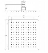 Floks dispersor fix - patrat crom anticalcar 25*25 cm