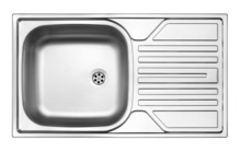 LEGATO SATIN SINK ONE BOWL WITH DRAINER, 3,5'' OUTFLOW WITH FITTING
